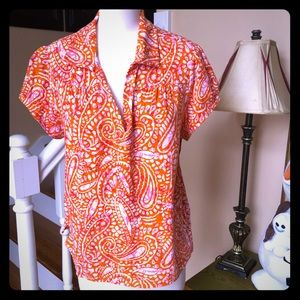 Orange paisley Caribbean joe island polo shirt